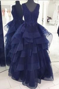 Royal Blue Sleeveless V-Neck Ruffled Bottom Backless A-Line Prom Dress