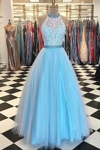Sleeveless Aqua Blue Lace Bodice Tulle Overlay A-Line Long Prom Dress