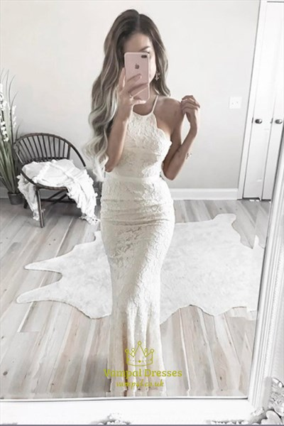 Elegant Spaghetti Strap Ivory Floor-Length Lace Sleeveless Prom Dress