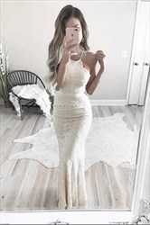 Elegant Spaghetti Strap Ivory Floor-Length Lace Sleeveless Prom Dress