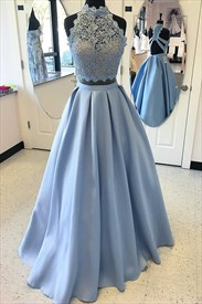 Two-Piece Sky Blue Lace Bodice A-Line Floor-Length Satin Prom Dress