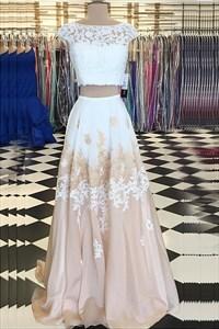 Two-Piece Cap Sleeve Lace Applique A-Line Floor-Length Evening Dress