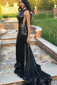 Black Sequin Elegant Sleeveless Floor-Length Prom Dress With Train