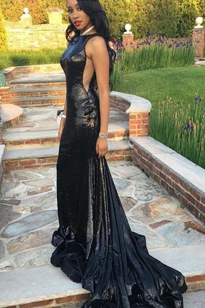 Black Sequin Elegant Sleeveless Floor-Length Prom Dress With Train