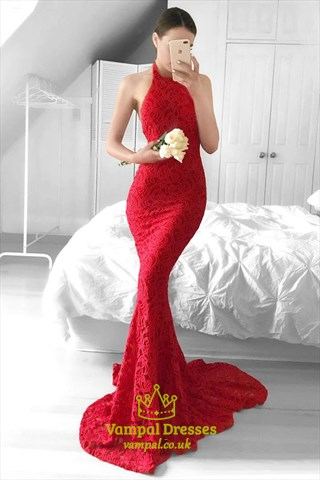 Red Halter Lace Sleeveless Long Mermaid Formal Dress With Open Back
