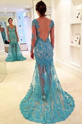 Sheer Illusion Long Sleeve V-Neck Lace Applique Floor-Length Prom Gown