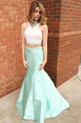 Elegant Beaded High-Neck Sleeveless Two Piece Mermaid Evening Dress