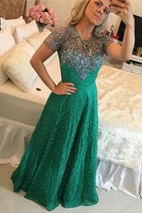 Emerald Green Illusion Beaded Neckline Short Sleeve Lace Prom Dress