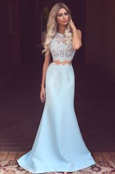 Illusion Elegant Sleeveless Two-Piece Mermaid Formal Dress With Lace