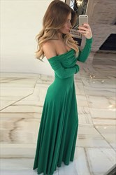 Off-The-Shoulder Simple Chiffon A-Line Prom Dress With Long Sleeves