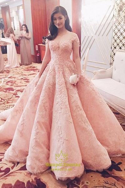 Blush Pink Illusion Short Sleeve Lace Applique Embellished Ball Gown