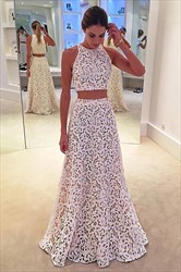 Elegant White Two-Piece Sleeveless A-Line Lace Floor-Length Prom Dress