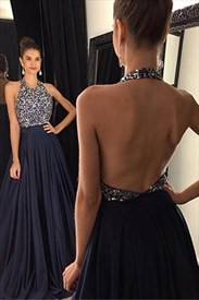 Halter Sleeveless Beaded Top A-Line Backless Floor-Length Prom Dress