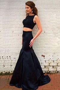 Black Elegant Sleeveless Two Piece Mermaid Prom Dress With Beaded Top