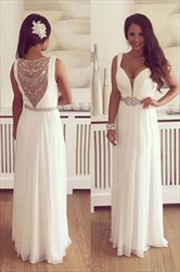 White Plunge V Neck Sleeveless Chiffon Prom Dress With Illusion Back