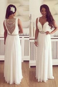 White Plunge V Neck Sleeveless Chiffon Prom Dress With Illusion Back