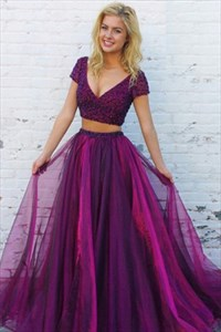 Fuchsia Two-Piece V-Neck Short Sleeve Beaded Bodice A-Line Prom Dress