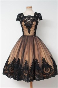 Knee Length Cap Sleeve A-Line Black Lace Embellished Homecoming Dress