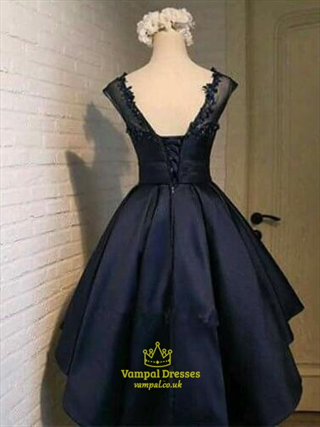 Navy Blue Illusion Neckline Cap Sleeve A-Line Short Homecoming Dress