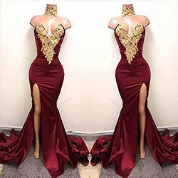 Sexy Burgundy Mermaid High Neck High Split Gold Lace Appliques African Prom Dresses 2018