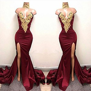 Sexy Burgundy Mermaid High Neck High Split Gold Lace Appliques African Prom Dresses 2021