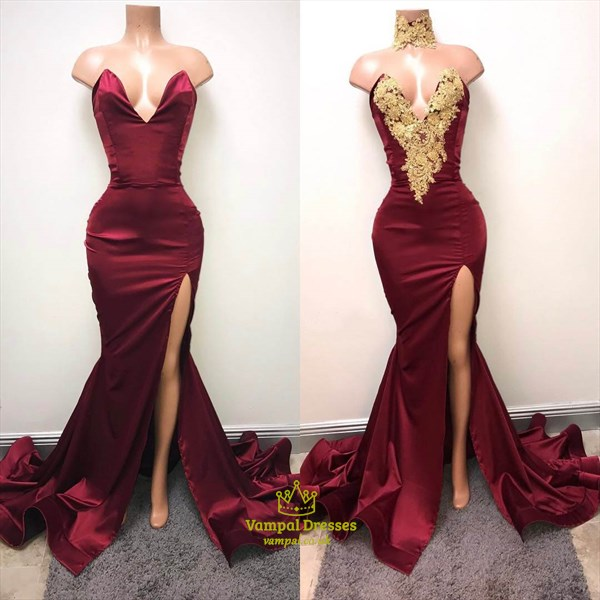 Sexy Burgundy Mermaid High Neck High Split Gold Lace Appliques African Prom Dresses 2019