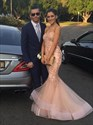 Pink Strapless Sweetheart Lace Applique Mermaid Long Prom Dress