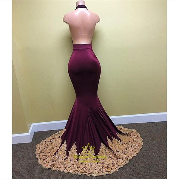 Mermaid Halter Deep V-Neck Lace Applique Open Back Long Evening Dress