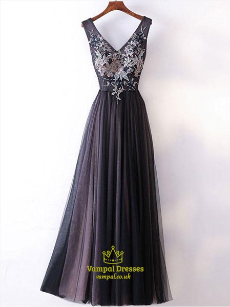 Vintage A-Line V-Neck Sleeveless Tulle Skirt Floor-Length Prom Dress
