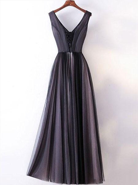 Vintage A-Line V-Neck Sleeveless Tulle Skirt Floor-Length Prom Dress