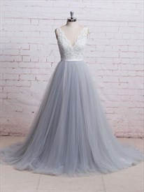 Grey Sleeveless V-Neck Lace Bodice Tulle A-Line Floor-Length Prom Gown