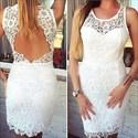 White Sleeveless Lace Short Sheath Cocktail Dress With Keyhole Back