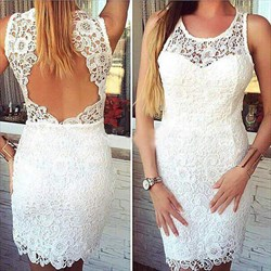White Sleeveless Lace Short Sheath Cocktail Dress With Keyhole Back