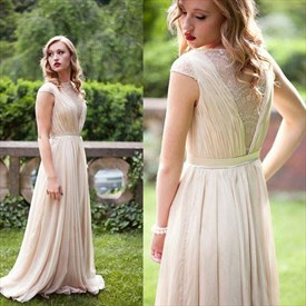 Champagne Cap Sleeve A-Line Floor-Length Lace & Chiffon Evening Dress
