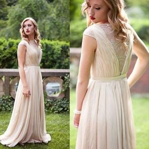 Champagne Cap Sleeve A-Line Floor-Length Lace & Chiffon Evening Dress