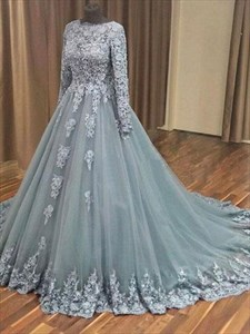 Grey Long Sleeve Lace Applique Tulle Prom Dress With Cathedral Train