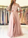 Blush Pink 3/4 Sleeve Lace Bodice A-Line Backless Prom Dress With Slit
