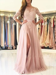 Blush Pink 3/4 Sleeve Lace Bodice A-Line Backless Prom Dress With Slit