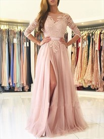cad7e671ab3a7 Blush Pink 3 4 Sleeve Lace Bodice A-Line Backless Prom Dress With Slit