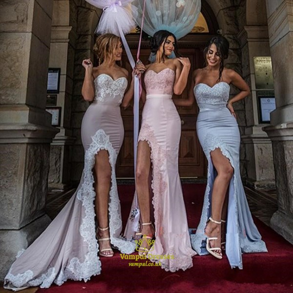 Sweetheart Mermaid Bridesmaid Dress Formal Prom Gown With Front Lace Slit Cut