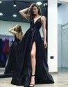 Black Spaghetti Strap V-Neck Floor-Length A-Line Satin Evening Dress