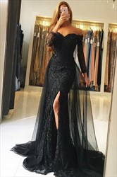 Black Off Shoulder Long Sleeve Lace Applique Tulle Overlay Prom Dress