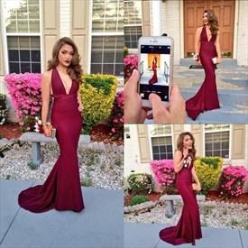 b48e115d25fcff Elegant Red Spaghetti Strap Deep V Neck Floor Length Mermaid Prom ...