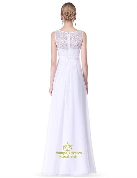 Elegant Sleeveless Floor Length Long Prom Dresses With Lace Bodice