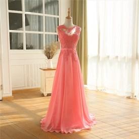 Lace Bodice Chiffon Skirt Floor Length Bridesmaid Dress