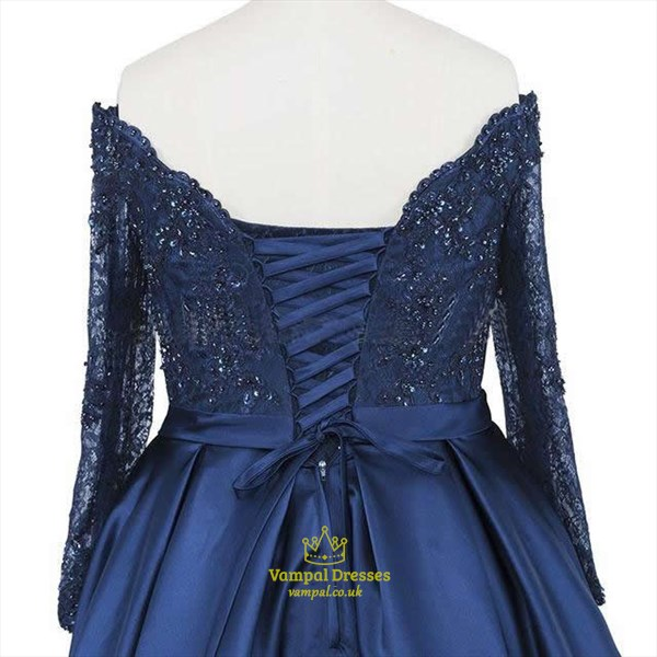 Navy Blue Beaded Bodice Off The Shoulder Long Sleeve Evening Dress