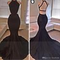 Black Sleeveless Lace Chiffon Evening Dress With Slits And Open Back