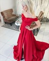 Elegant red off the shoulder prom dress with front slit