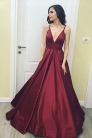A Line Burgundy Spaghetti Strap V Neck Floor Length Satin Prom Dress