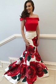 Red Off The Shoulder Mermaid Two Piece Prom Dress With Flower Print